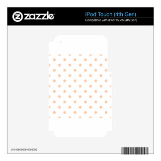 Polka Dots - Deep Peach on White Skin For iPod Touch 4G