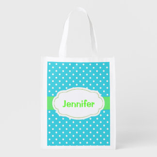 Polka Dots Design Reusable Tote Grocery Bag