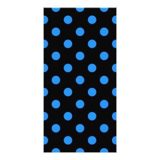 Polka Dots - Dodger Blue on Black Card