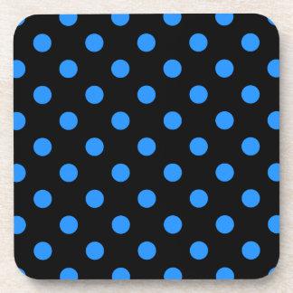 Polka Dots - Dodger Blue on Black Coaster