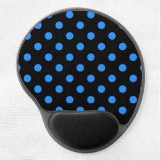 Polka Dots - Dodger Blue on Black Gel Mouse Pad