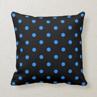 Polka Dots - Dodger Blue on Black Pillow