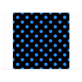 Polka Dots - Dodger Blue on Black Postcard