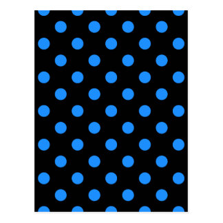Polka Dots - Dodger Blue on Black Postcard