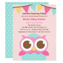 Polka Dots Egg Owl Themed Baby Shower Invitations