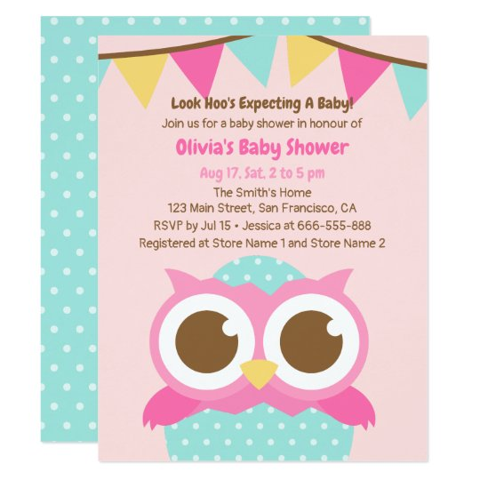 Polka Dots Egg Owl Themed Baby Shower Invitations