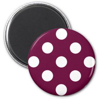 Polka Dots Eggplant Purple 2 Inch Round Magnet