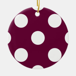 Polka Dots Eggplant Purple Ceramic Ornament
