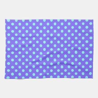 Polka Dots - Electric Blue on Violet Kitchen Towel