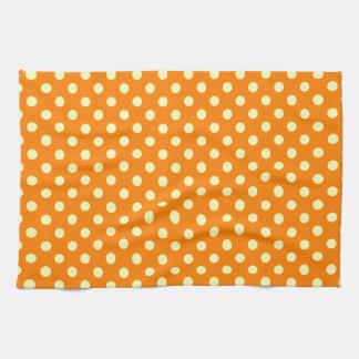 Polka Dots - Electric Yellow on Orange Hand Towel