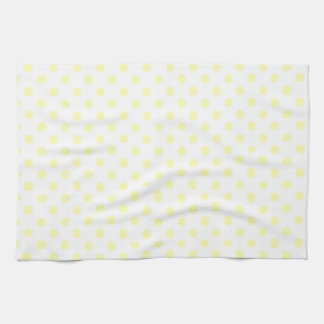 Polka Dots - Electric Yellow on White Hand Towel