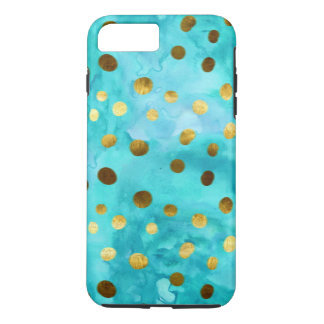 Polka Dots Faux Gold And Turquoise Watercolor iPhone 7 Plus Case