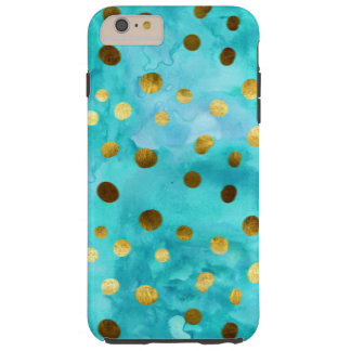 Polka Dots Faux Gold And Turquoise Watercolor Tough iPhone 6 Plus Case
