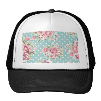 Polka dots floral shabby chic blue white elegant hat