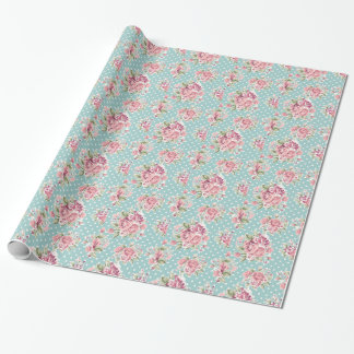 Polka dots floral shabby chic blue white elegant gift wrapping paper