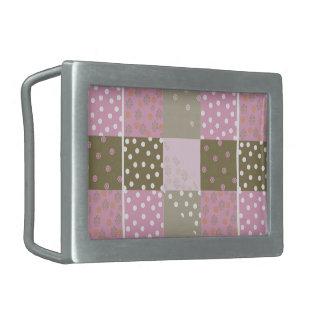 Polka Dots Flowers Brown Pink Quilt Belt Buckle