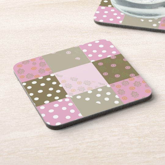 Polka Dots Flowers Brown Pink Quilt Coaster