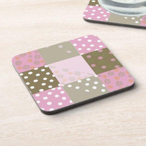 Polka Dots Flowers Brown Pink Quilt Beverage Coaster