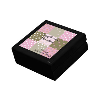 Polka Dots Flowers Brown Pink Quilt Gift Box