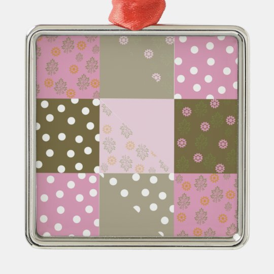 Polka Dots Flowers Brown Pink Quilt Metal Ornament