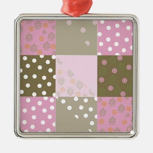 Polka Dots Flowers Brown Pink Quilt Christmas Ornament