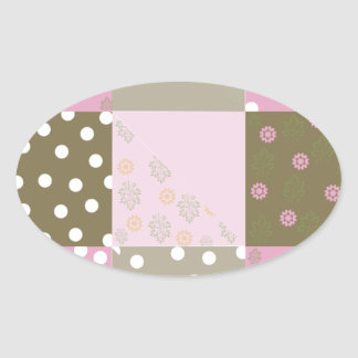 Polka Dots Flowers Brown Pink Quilt Oval Sticker