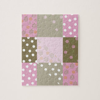 Polka Dots Flowers Brown Pink Quilt Puzzle