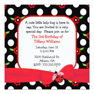 Polka Dots & Flowers Girl's Birthday Invitation
