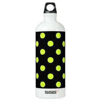 Polka Dots - Fluorescent Yellow on Black Aluminum Water Bottle