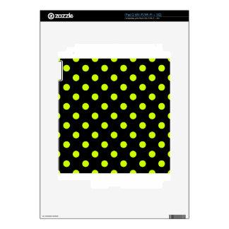 Polka Dots - Fluorescent Yellow on Black iPad 2 Skin