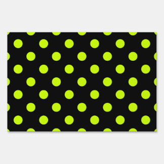 Polka Dots - Fluorescent Yellow on Black Sign