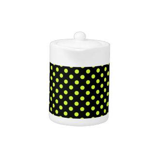 Polka Dots - Fluorescent Yellow on Black