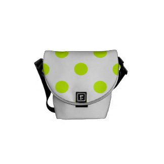 Polka Dots - Fluorescent Yellow on White Courier Bag