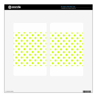 Polka Dots - Fluorescent Yellow on White Kindle Fire Decals