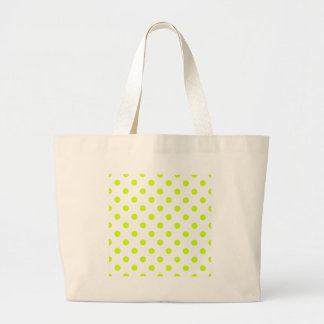 Polka Dots - Fluorescent Yellow on White Large Tote Bag