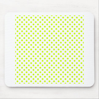 Polka Dots - Fluorescent Yellow on White Mousepad