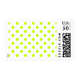 Polka Dots - Fluorescent Yellow on White Postage