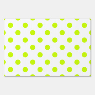Polka Dots - Fluorescent Yellow on White Sign