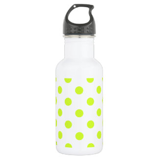 Polka Dots - Fluorescent Yellow on White Stainless Steel Water Bottle