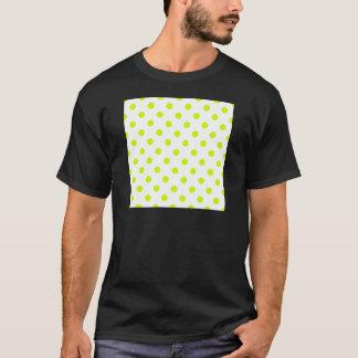 Polka Dots - Fluorescent Yellow on White T-Shirt