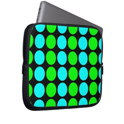 Polka Dots for Her : Lime & Cyan Polka Dot Stripes Computer Sleeves