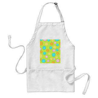 Polka dots for Spring blue green pink yellow paint Adult Apron