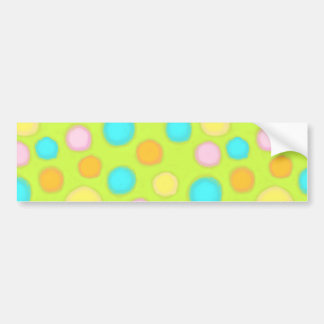 Polka dots for Spring blue green pink yellow paint Bumper Sticker