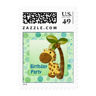 Polka Dots Giraffe - Birthday Party Stamp