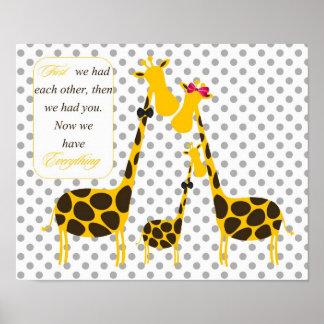 polka dots giraffe family yellow baby boy nursery poster