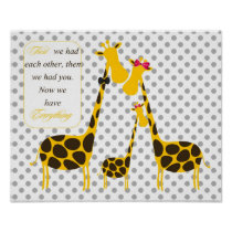 polka dots giraffe family yellow baby girl nursery poster