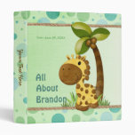 Polka Dots Giraffe - Neutral Baby Keepsake Album 3 Ring Binders