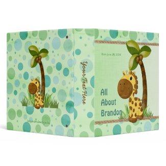 Polka Dots Giraffe - Neutral Baby Keepsake Album Binders