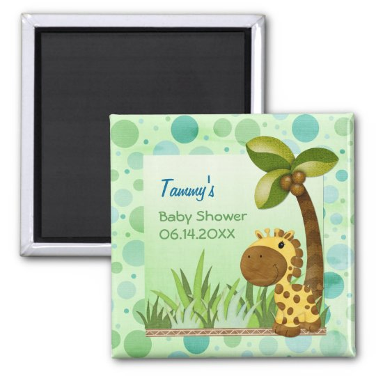 Polka Dots Giraffe - Neutral Baby Shower Magnet