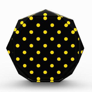 Polka Dots - Golden Yellow on Black Acrylic Award